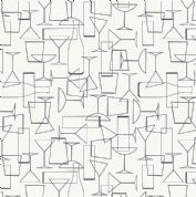 Lewis & Irene - Cocktail Party - 6531 - Glasses, Black on White - A351.1 - Cotton Fabric